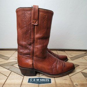 VTG Acme Western Motorcycle Tooled Leather Boots